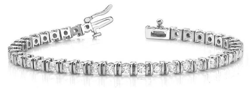 4.02 Carat Diamond Engagement 14K White Gold Bracelet