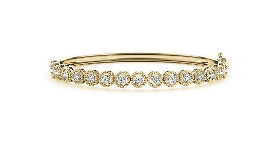 0.58 Carat Diamond Engagement 14K Yellow Gold Bangle