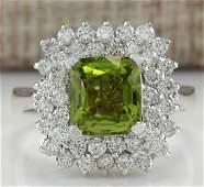 3.55 CTW Natural Peridot And Diamond Ring 18K Solid
