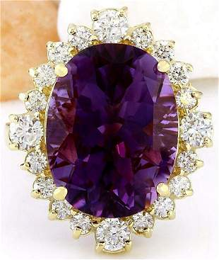 10.99 CTW Natural Amethyst 18K Solid Yellow Gold