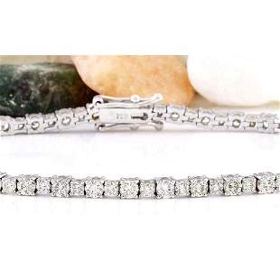 4.07 CTW Natural Diamond 14K Solid White Gold Bracelet