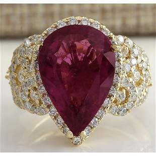 8.27 CTW Natural Rubelite And Diamond Ring 14k Solid