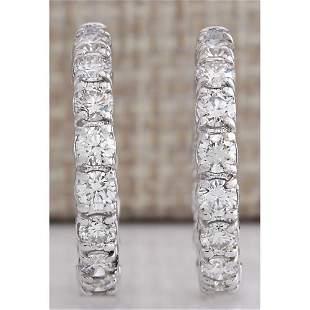 2.60 CTW Natural Diamond Hoop Earrings 14k Solid White