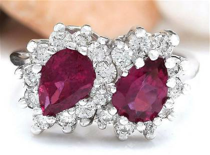 2.34 CTW Natural Tourmaline 18K Solid White Gold