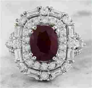 5.70 CTW Ruby 14K White Gold Diamond Ring