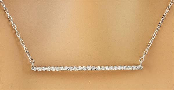 0.30 CTW Diamond 18K White Gold Bar Necklace