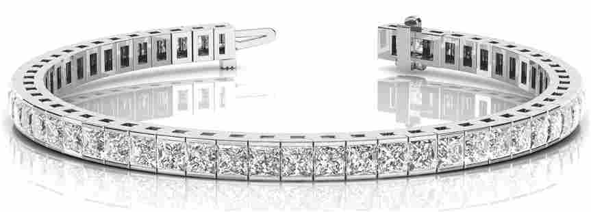 10.08 Carat Diamond Engagement 14K White Gold Bracelet