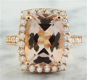 7.12 CTW Morganite 14K Rose Gold Diamond Ring