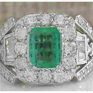 4.75 CTW Natural Emerald Diamond Ring 14k Solid White