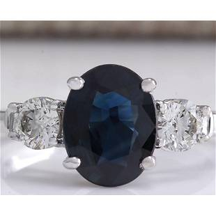 2.45 CTW Natural Blue Sapphire And Diamond Ring 18K