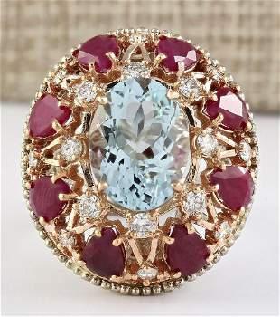 14.145 CTW Natural Aquamarine Ruby Diamond Ring In 18K