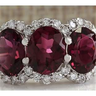 6.48 CTW Natural Pink Tourmaline And Diamond Ring 14K