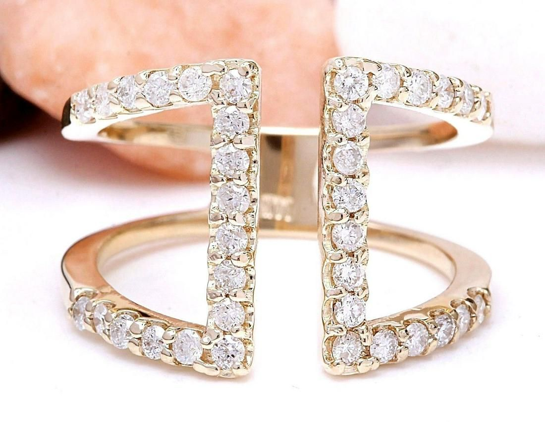 0.60 CTW Natural Diamond 18K Solid Yellow Gold Ring