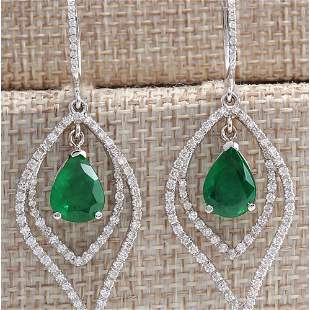6.98 CTW Natural Emerald And Diamond Earrings 14K Solid