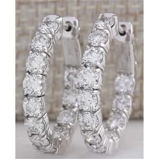 3.51CTW Natural Diamond Hoop Earrings 14K Solid White