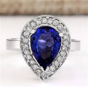 3.13 CTW Natural Blue Tanzanite And Diamond Ring 18K