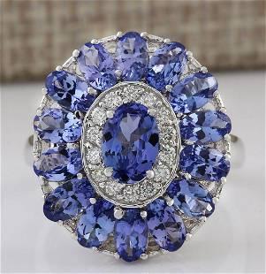 4.77 CTW Natural Tanzanite And Diamond Ring In 18K