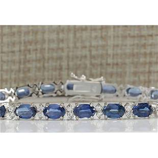 13.49 CTW Natural Sapphire And Diamond Bracelet In 14K