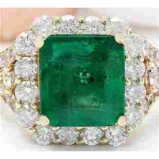 4.39 CTW Natural Emerald 18K Solid Yellow Gold Diamond