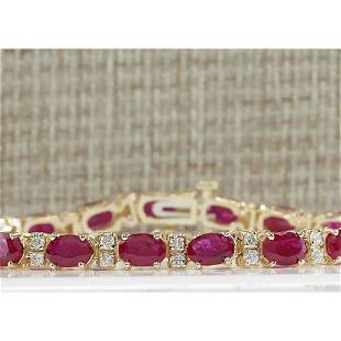 11.01 CTW Natural Ruby And Diamond Bracelet In 18K