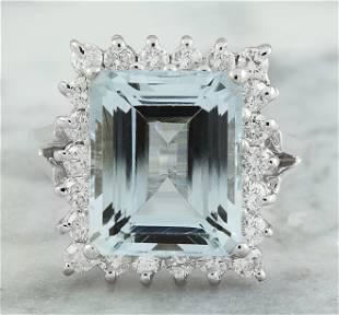 7.23 CTW Aquamarine 14K White Gold Diamond Ring
