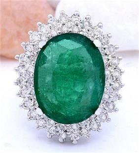 9.30 CTW Natural Emerald 14K Solid White Gold Diamond