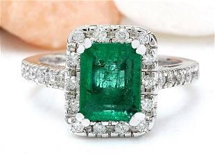 3.26 CTW Natural Emerald 14K Solid White Gold Diamond