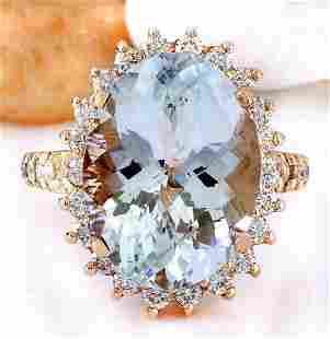 8.88 CTW Natural Aquamarine 14K Solid Rose Gold Diamond