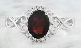 1.27 CTW Garnet 14K White Gold Diamond Ring