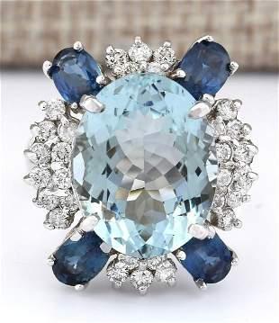 11.57 CTW Natural Aquamarine, Sapphire And Diamond Ring