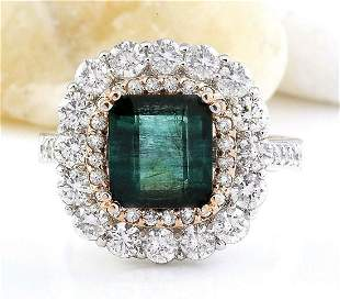5.32 CTW Natural Emerald 18K Solid Two Tone Gold