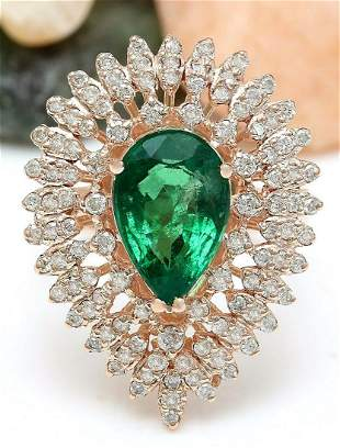 4.68 CTW Natural Emerald 18K Solid Rose Gold Diamond
