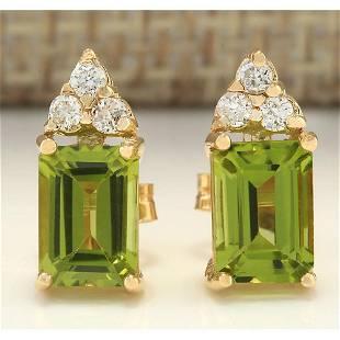 2.75 CTW Natural Peridot And Diamond Earrings 18K Solid