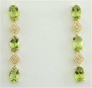 2.65 CTW Peridot 18K Yellow Gold Diamond Earrings
