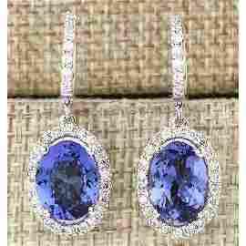 9.36 CTW Natural Tanzanite And Diamond Earrings 14k