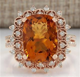 6.39 CTW Natural Madeira Citrine And Diamond Ring 14K