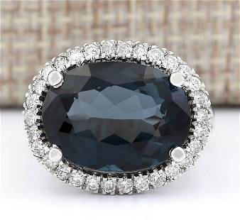 12.08 CTW Natural London Blue Topaz And Diamond Ring
