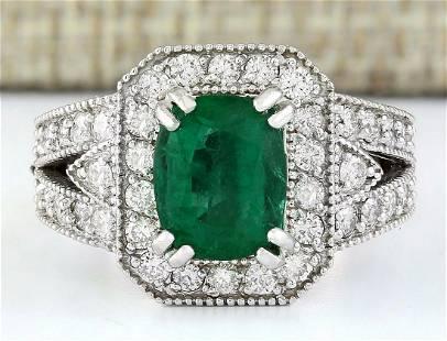 3.17 CTW Natural Emerald 14K Solid White Gold Diamond
