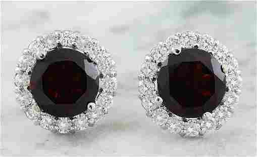 3.65 CTW Garnet 18K White Gold Diamond Earrings