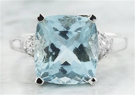 5.50 CTW Aquamarine 14K White Gold Diamond Ring