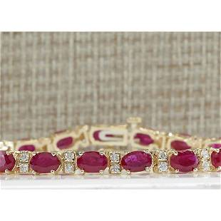11.01 CTW Natural Ruby And Diamond Bracelet In 14K