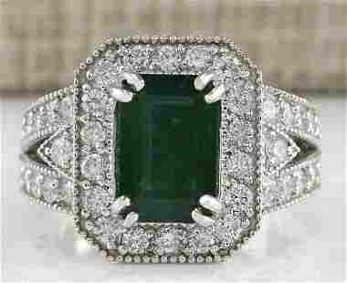 3.58 CTW Natural Emerald And Diamond Ring 18K Solid
