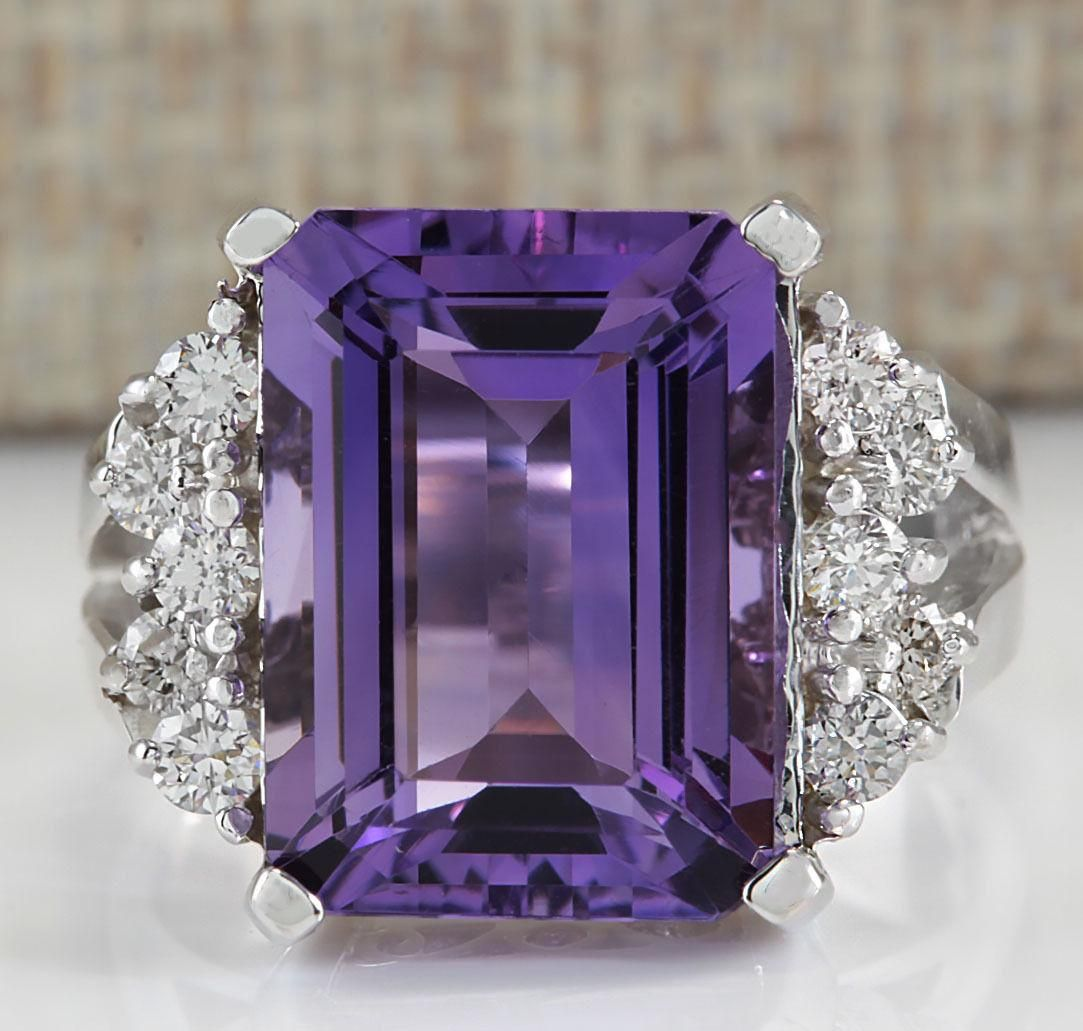 7.53 CTW Natural Amethyst And Diamond Ring In 14K White