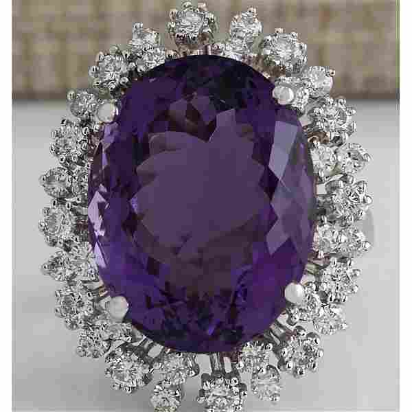 15.83 CTW Natural Amethyst And Diamond Ring In 14K