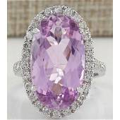 16.40 CTW Natural Kunzite And Diamond Ring 18K Solid