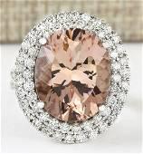11.53 CTW Natural Morganite And Diamond Ring In 14k