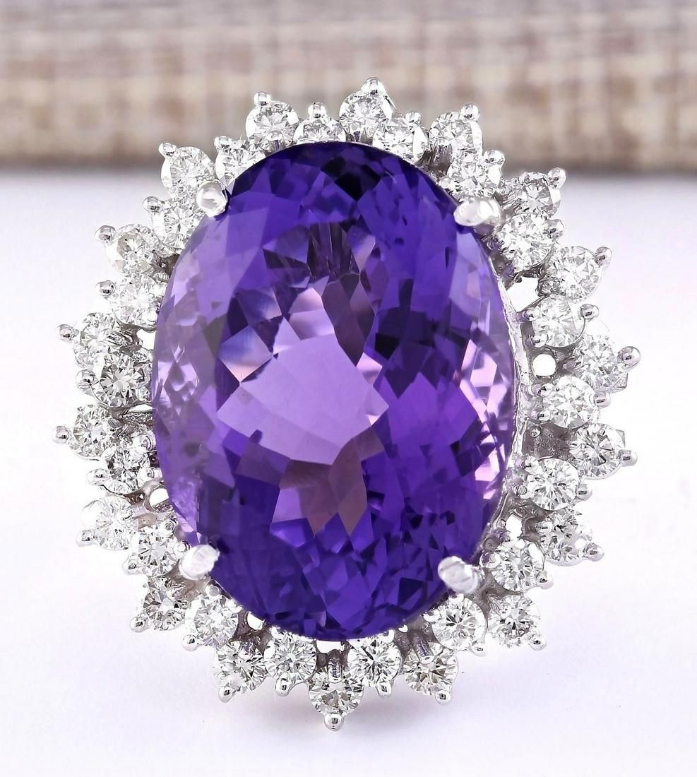 27.50 CTW Natural Amethyst And Diamond Ring In 14k