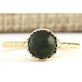 1.50 CTW Natural Green Tourmaline Ring In 18K Yellow