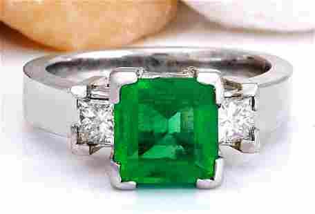 4.00 CTW Natural Emerald 18K Solid White Gold Diamond