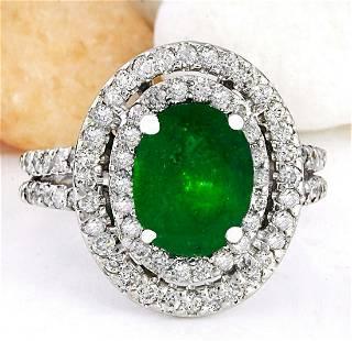 3.53 CTW Natural Emerald 14K Solid White Gold Diamond